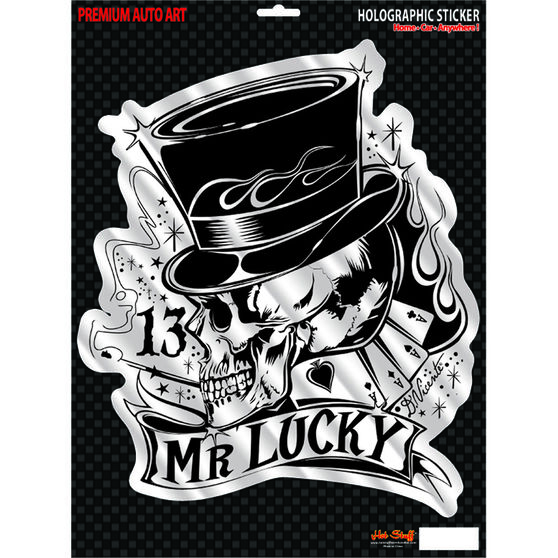 Hot Stuff Sticker - Mr Lucky, Large, Holographic, , scanz_hi-res