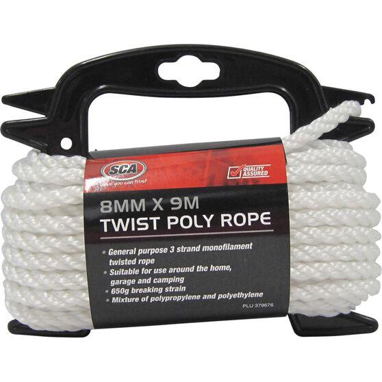 SCA 3 Strand Twist Poly Rope - 8mm X 9m, , scanz_hi-res