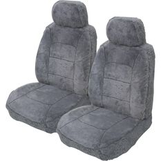 Silver Cloud Sheepskin Seat Covers - Black Adjustable Headrests Size 30 Front Pair Airbag Compatible, Grey, scanz_hi-res