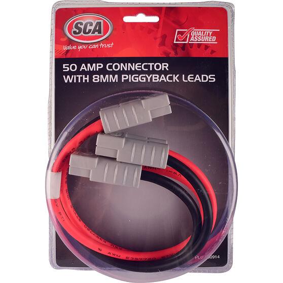 SCA 50 AMP Plug - Piggyback Lead, 30cm, 8 AWG, , scanz_hi-res