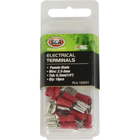 SCA Electrical Terminals - Female Blade, Red, 6.3mm, 18 Pack, , scanz_hi-res