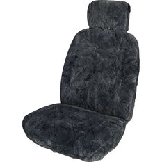 SCA Sheepskin Seat Cover - Charcoal, Adjustable Headrests, Size 30, Single, Airbag Compatible, , scanz_hi-res