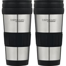Thermocafe 420ml 2Pack Travel Mugs - Black, Stainless Steel, , scanz_hi-res
