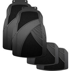 Armor All Combination Car Floor Mats Carpet/Rubber Black Set of 4, , scanz_hi-res