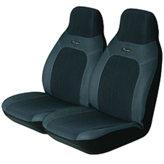 Seat Covers - Grey, Built-in Headrests, Size 60, Front Pair, Airbag Compatible, , scanz_hi-res
