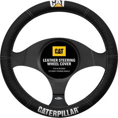 Caperpillar Steering Wheel Cover - Leather, Black, 380mm Diameter, , scanz_hi-res