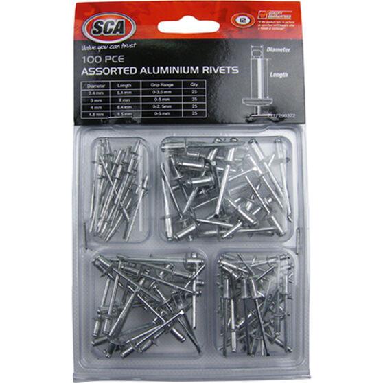 SCA Aluminium Rivets - Assorted, 100 Piece, , scanz_hi-res