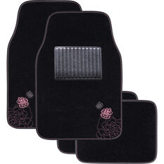 SCA Rose Floor Mats Carpet Black/Pink Set of 4, , scanz_hi-res