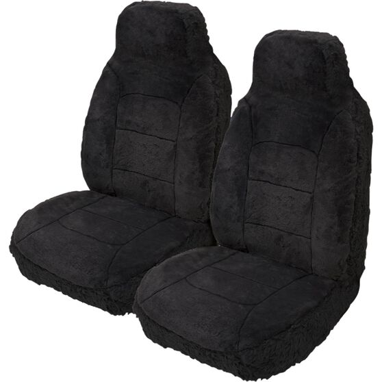 Silver Cloud Sheepskin Seat Covers - Black, Built-in Headrests, Size 60, Front Pair, Airbag Compatible Black, Black, scanz_hi-res