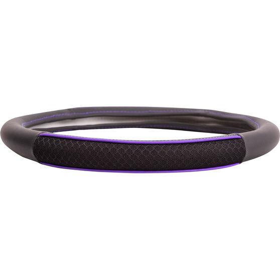 SCA Steering Wheel Cover - PU and Mesh, Black / Purple, 380mm diameter, , scanz_hi-res