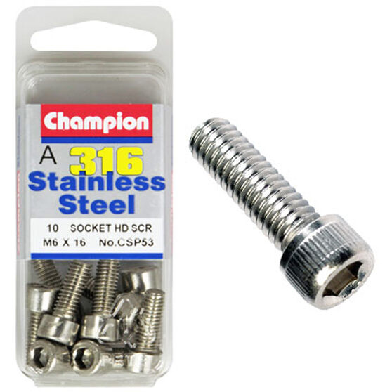 Champion Socket Head Screws - 6mm X 16mm, , scanz_hi-res