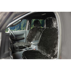 SCA Luxury Fur Seat Cover - Black, adjustable Headrests, Size 30, Front Pair, Airbag Compatible, , scanz_hi-res