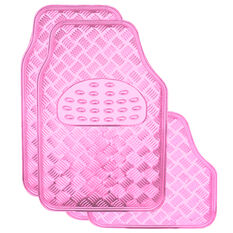 SCA Checkerplate Car Floor Mats - PVC, Pink, Set of 4, , scanz_hi-res
