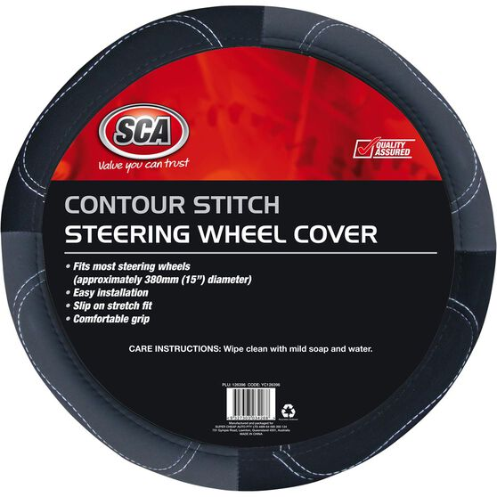 Steering Wheel Cover - Contour Stitch, Grey, 380mm diameter, , scanz_hi-res