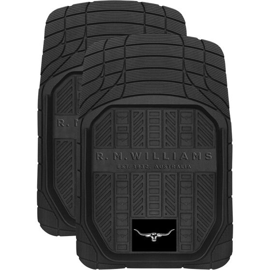 R.M.Williams Car Floor Mats - Rubber, Black, Front Pair, , scanz_hi-res