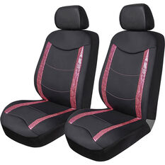 SCA Animal Panel  Seat Covers - Black/Pink, Adjustable Headrests, Airbag Compatible, , scanz_hi-res