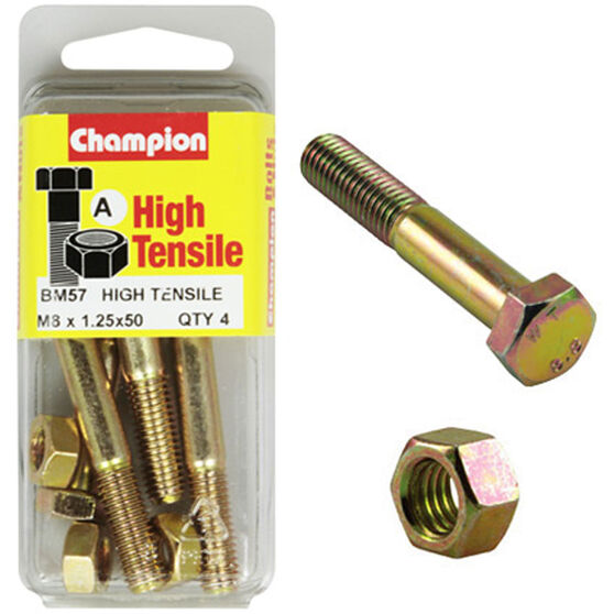 Champion High Tensile Bolts and Nuts - M8 X 50, BM57, , scanz_hi-res