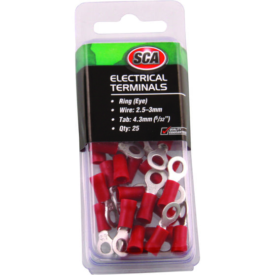 SCA Electrical Terminals - Ring (Eye), Red, 4.3mm, 25 Pack, , scanz_hi-res
