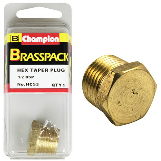 Champion Hex Taper Plug - 1 / 2inch, Brass, , scanz_hi-res