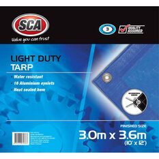 SCA Light Duty Poly Tarp - 3.0m X 3.6m (10 X 12), 80GSM, Blue, , scanz_hi-res