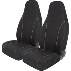 SCA Canvas Seat Covers - Black/Grey Built-In Headrests Size 60 Front Pair Airbag Compatible, , scanz_hi-res