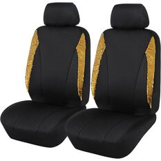 Sequin Seat Covers - Black and Gold, Adjustable Headrests, , scanz_hi-res