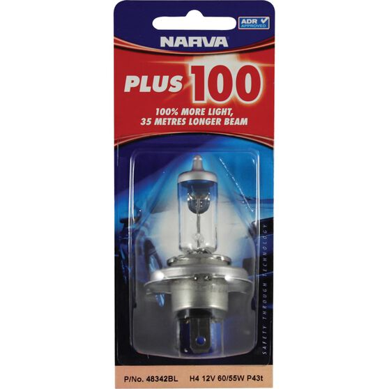 Narva Headlight Globe - Plus 100, H4, 12V, 60/55W, , scanz_hi-res