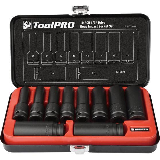 ToolPRO Impact Deep Socket Set - 1 / 2inch Drive, Metric, 10 Piece, , scanz_hi-res