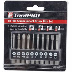ToolPro Impact Driver Bit Set - 50mm, 10 Pieces, , scanz_hi-res