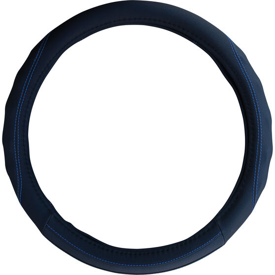 SCA Steering Wheel Cover - PU Racing, Black / Blue, 380mm diameter, , scanz_hi-res