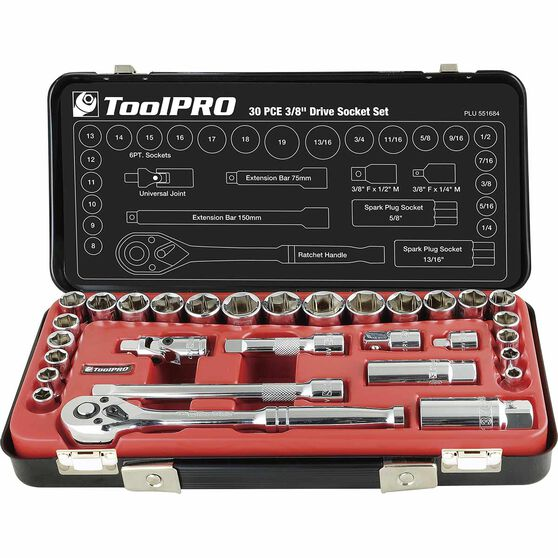 "ToolPRO Socket Set - 3/8"" Drive, Metric & Imperial, 30 Piece, , scanz_hi-res"