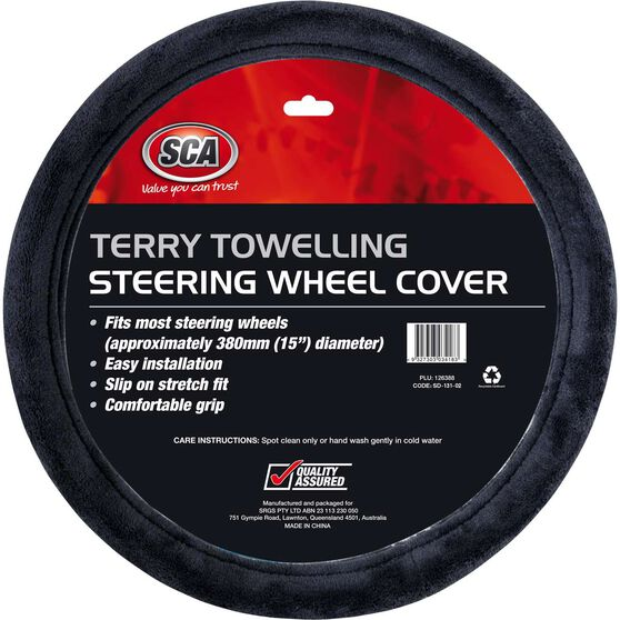 SCA Steering Wheel Cover - Terry Towelling, Grey, 380mm diameter, , scanz_hi-res