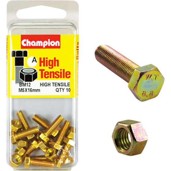 Champion High Tensile Bolts and Nuts - M5 X 16, , scanz_hi-res