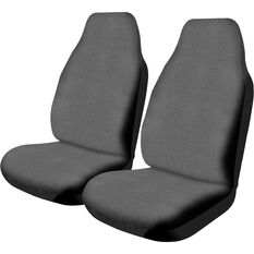 Canvas Seat Covers - Charcoal, Built-in Headrests, Size 60, Front Pair, Airbag Compatible, , scanz_hi-res