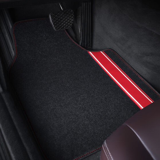 SCA Racing Car Floor Mats - Carpet, Black / Red, Set of 4, , scanz_hi-res
