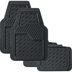 SCA Diamond Car Floor Mats - Synthetic Rubber, Black, Set of 4, , scanz_hi-res