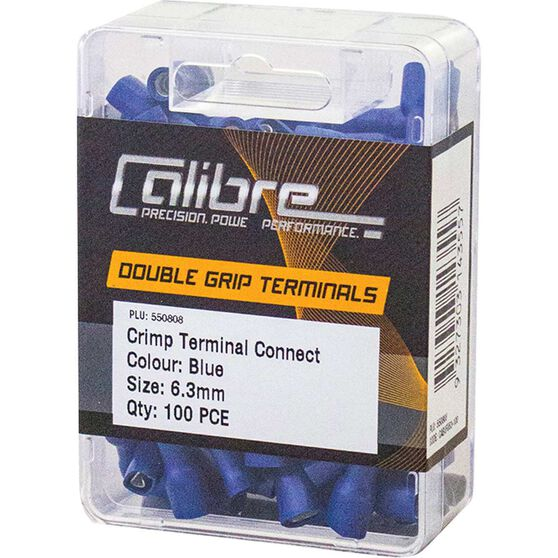 Crimp Terminal Connect Blue 6.3mm 100Pk, , scanz_hi-res