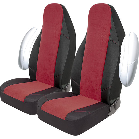 SCA Cord Seat Covers - Red/Black, Built-in Headrests, Size 60, Front Pair, Airbag Compatible, , scanz_hi-res