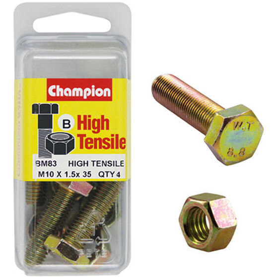 Champion High Tensile Bolts and Nuts - M10 X 35, , scanz_hi-res