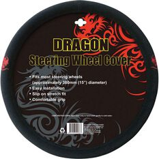 Dragon Steering Wheel Cover - Brushed Polyester, Red, 380mm diameter, , scanz_hi-res