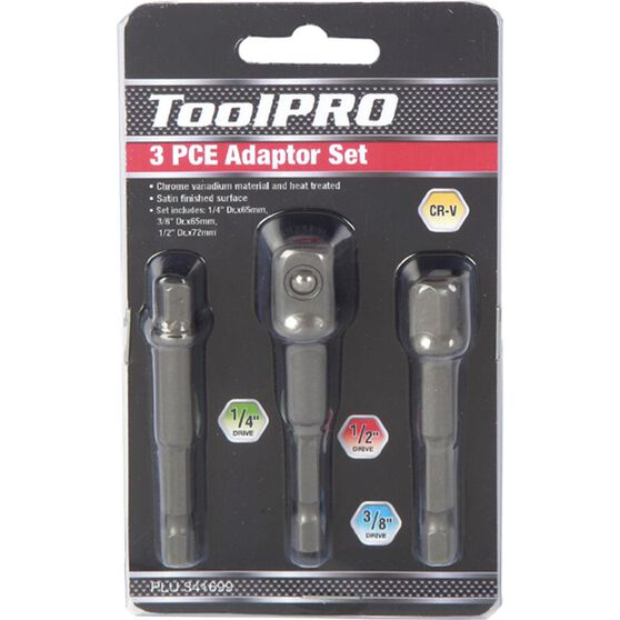 "ToolPRO Drill Bit Adaptor Set - 1/4"", 3/8"" & 1/2"", 3 Piece, , scanz_hi-res"