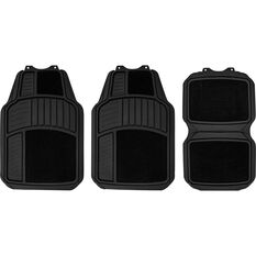 SCA Heavy Duty Combo Floor Mats Carpet/Rubber Black Set of 4, , scanz_hi-res