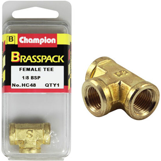 Champion Female T Pieces - 1 / 8inch, Brass, , scanz_hi-res