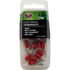SCA Electrical Terminals - Spade, Red, 4.3mm, 21 Pack, , scanz_hi-res