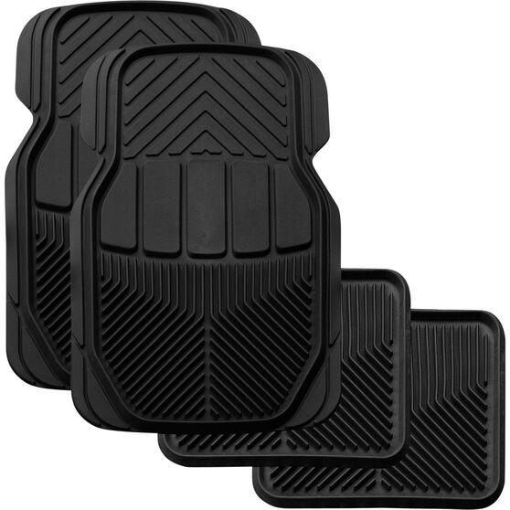 SCA All Season Car Floor Mats - Synthetic Rubber, Black, Set of 4, , scanz_hi-res