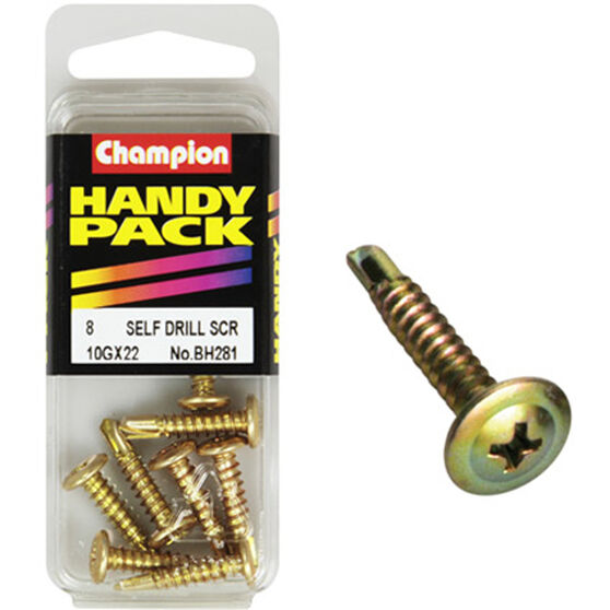 Champion Self Drilling Screws - 10G X 22, BH281, Handy Pack, , scanz_hi-res