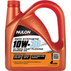 Nulon Semi Synthetic Hi-Tech Fast Flowing Engine Oil 10W-30 4 Litre, , scanz_hi-res
