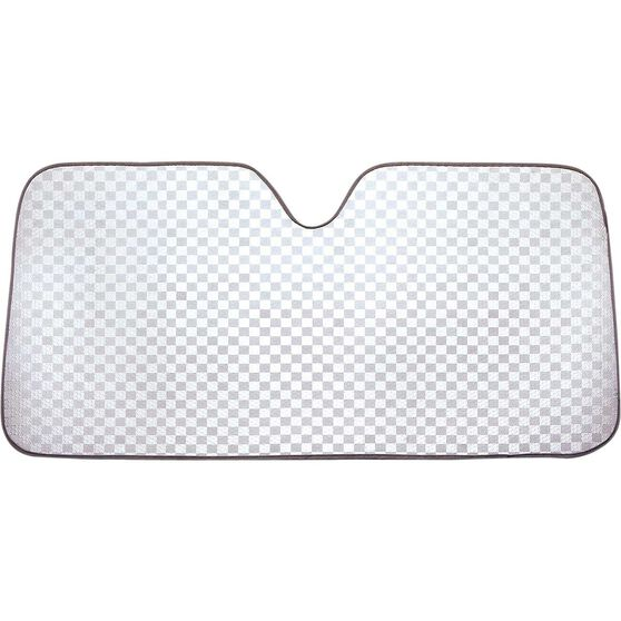 Silver Checkerplate Sunshade - Accordion, Front, , scanz_hi-res