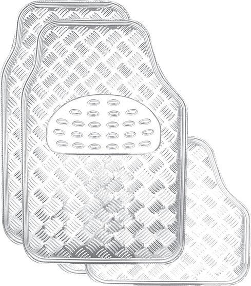 SCA Checkerplate Car Floor Mats - PVC, Silver, Set of 4, , scanz_hi-res