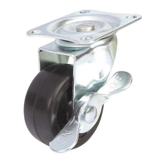 Caster Wheel - 50 x 22mm, Metal Brake, Swivel, , scanz_hi-res